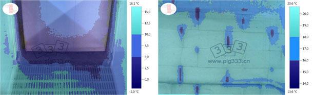 温度图像(数值范围有限)显示出从门框渗入的空气(保育室,冬季)。