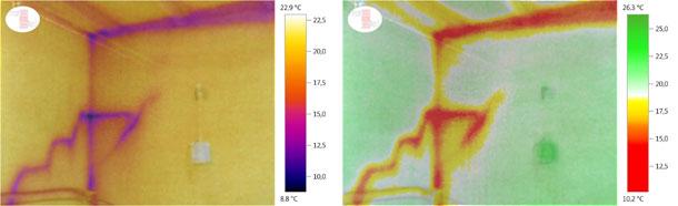 温度记录图和数字图像的叠加图,用于分析冬季畜舍表面温差。我们可以看到畜舍顶梁、墙面和舍顶接合处的温度降低及观察到墙体的裂缝。