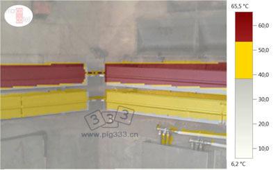 温度记录图和数字图像的叠加图,用以评价冬季保育舍对流采暖设备的运行情况。上部管道(红色)的温度在53.5ºC和65.5 ºC之间,下部管道(黄色)的温度在38.5ºC和53.4 ºC之间。