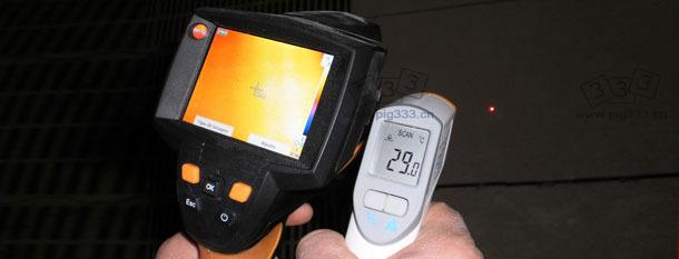 温度记录照相机可测量一幅图像中所有点的温度,其分辨率可达到19200个红外线测温仪同时测量的结果。