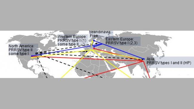 PRRSV全球分布及洲际传播的可能性