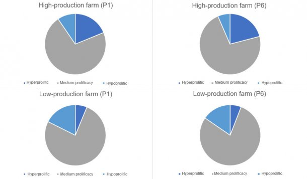 Figure 1. Distribution of the kind of sows, in parity1 and 6 categorised by the kind of farms considered