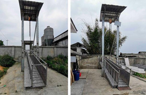 图5.中国猪场周边的铝制露天装载斜槽。由DANAG集团提供。
