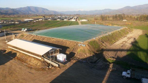 图3:El Campesino工厂(智利,AgrícolaAASA)具有能量回收和沼气利用的有盖厌氧池。 照片:Alejandro Gebauer。
